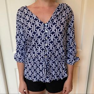 Rope patterned nautical blue blouse